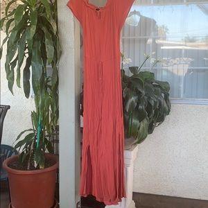 A red orangish dress